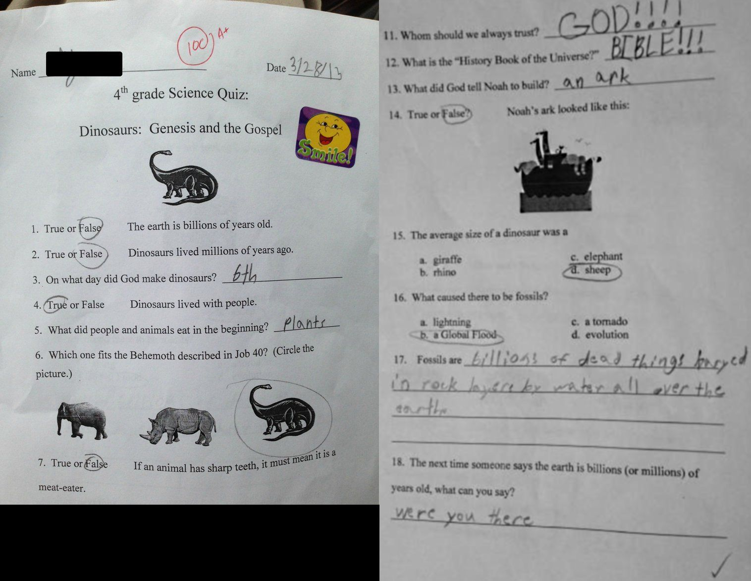 The Blue Ridge Christian Academy 4th grade 'science' quiz that went viral.